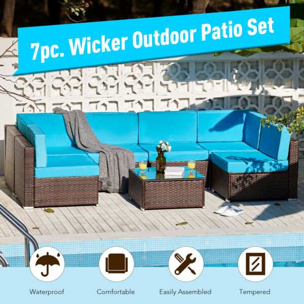 7pc Outdoor Furniture Set Sectional Sofa Table for Patio Pool More Walnut $612.99