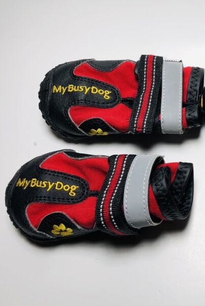 My Busy Dog Waterproof Dog Shoes Boots With Rugged Tread Red reflective Size 4 $7.99