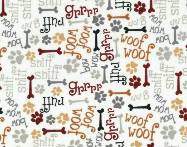 FABRIC DOG DOGS PUPPY BONES PAWS WORD COTTON BOW WOW WOOF RUFF BY THE YARD $8.99