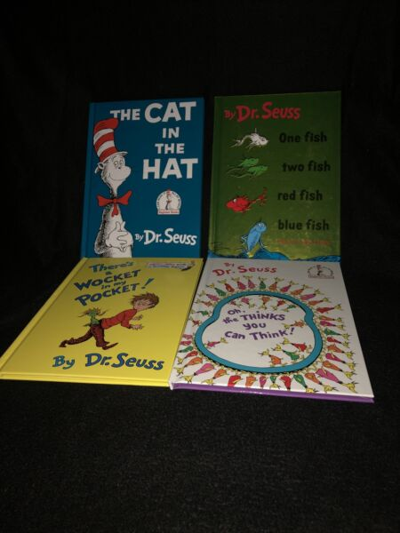 NEW 4ct Dr. Seuss Lot: Cat in the hat 1 fish 2 fish Oh the think amp; Wocket $100.00