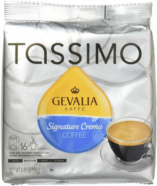 2 TASSIMO GEVALIA SIGNATURE CREMA COFFEE MEDIUM 16 T Discs Each BBD 4 9 21