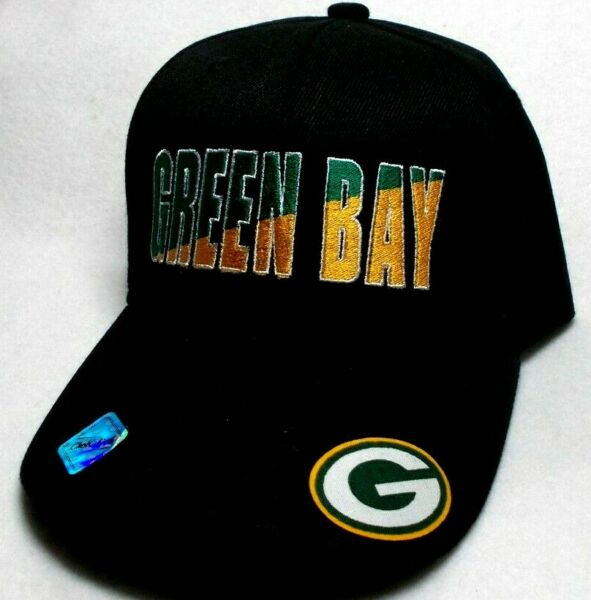 Green Bay Packers Team colors Green Gold embroidered Black cap hat. See details