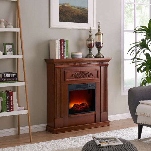 Bold Flame 38 inch Wall Corner Electric Fireplace in Dark Cherry Red