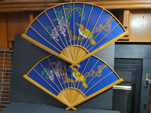 2 Vtg Asian Oriental Hand Painted Wood Fans Decorative Wall Art 17quot;h x 26.75quot;w $15.99
