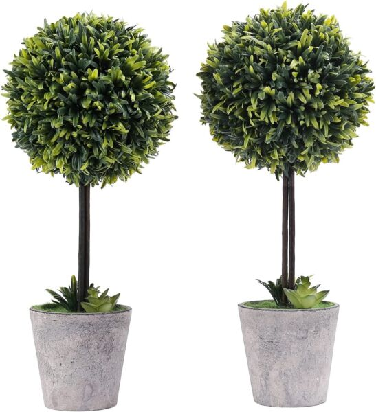 MyGift Artificial Boxwood Topiary Tree in Modern Gray Pulp Planter Set of 2