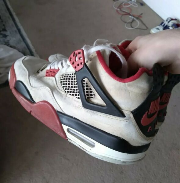 1989 OG Jordan 4 Fire Red Size 10 Soleswapped Wearable Military Cement Bred 1999