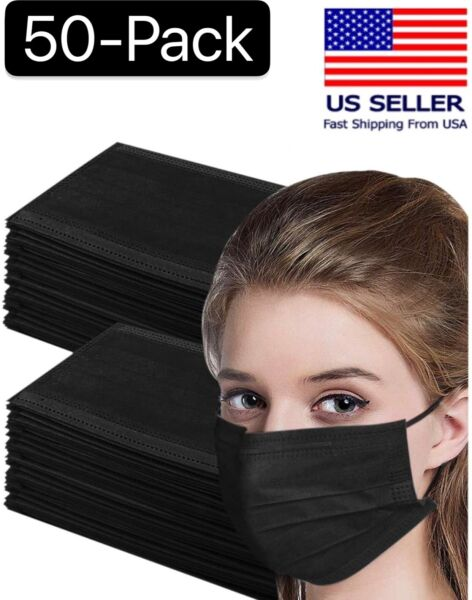 50 Pcs Black 3 Ply Face Mask Disposable Non Medical Surgical Earloop Mouth Cover $7.83