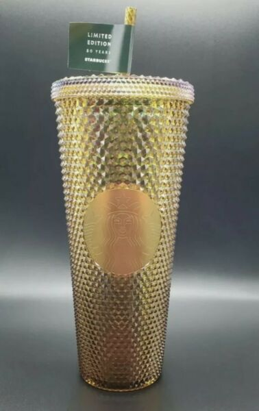 NEW Starbucks 50th Anniversary 21' Studded Cup Copper Gold LIMITED EDITION 24oz