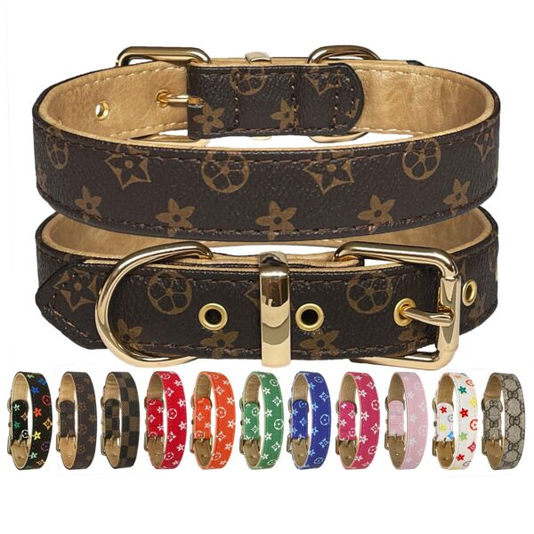 Luxury Leather Designer Dog Collar In XS S M L XL Optional Leash Available $15.99