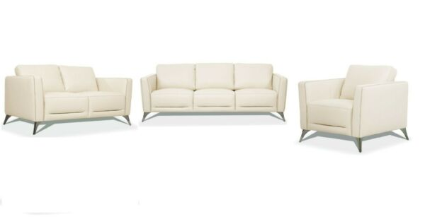 Contemporary Design Living Room Furniture Sofa Set Cream Leather Padded Arms $3849.99