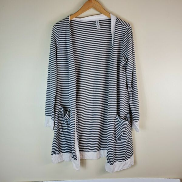 Tickled Teal Womens Cardigan OPen Front Large Gray striped $9.09