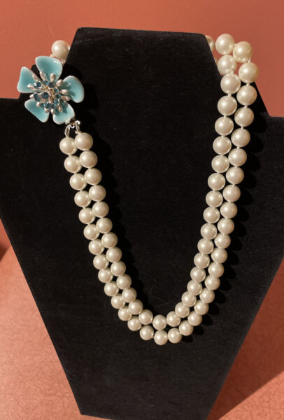 Vintage Double Stand Faux Pearl Necklace With Porcelain Floweramp; Blue Rhinestones $15.00