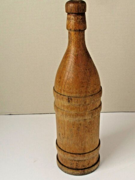 Antique Treen Wood Tall Bottle re moveable Lid 14quot;