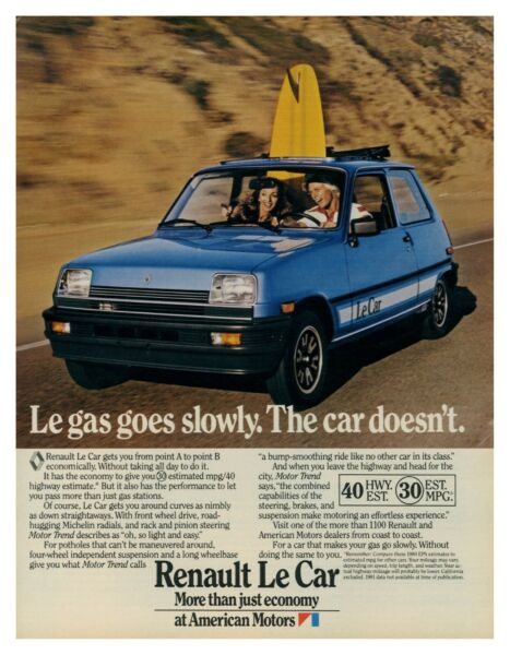 1980 RENAULT Le Car Le Gas Goes Slowly The Car Doesn#x27;t vintage print ad $9.50