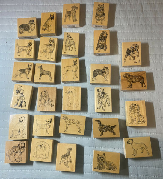 DOG BREED House Pet Puppy STAMP GALLERY New wood mount Rubber Rare $9.99