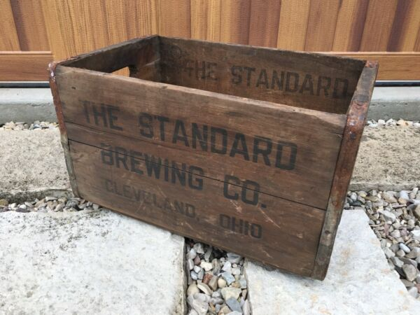 Vintage Wooden Beer Crate Standard Brewing Company Cleveland Ohio Wood Box 1941