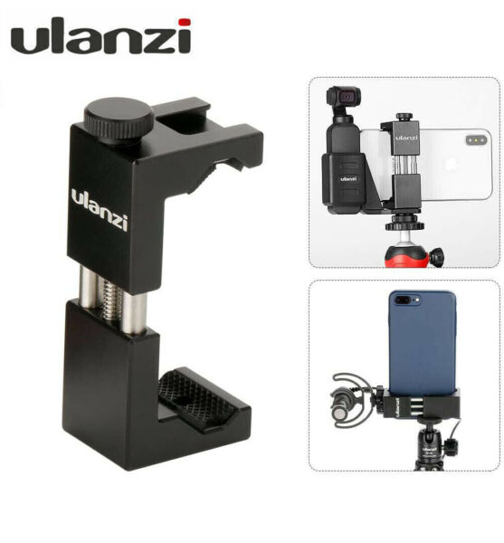 Ulanzi ST 02 Tripod Adapter Cell Phone Clip Vlog Holder Mount With Cold Shoe