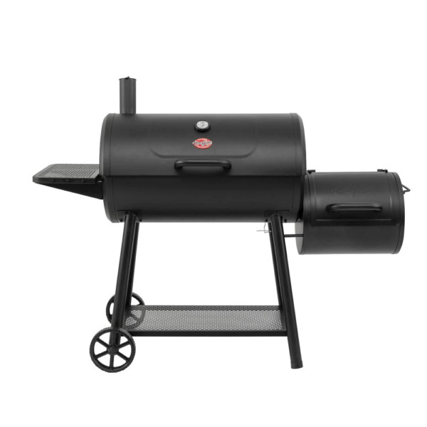 Charcoal BBQ Grill with Offset Smoker Firebox Combo Barrel Black