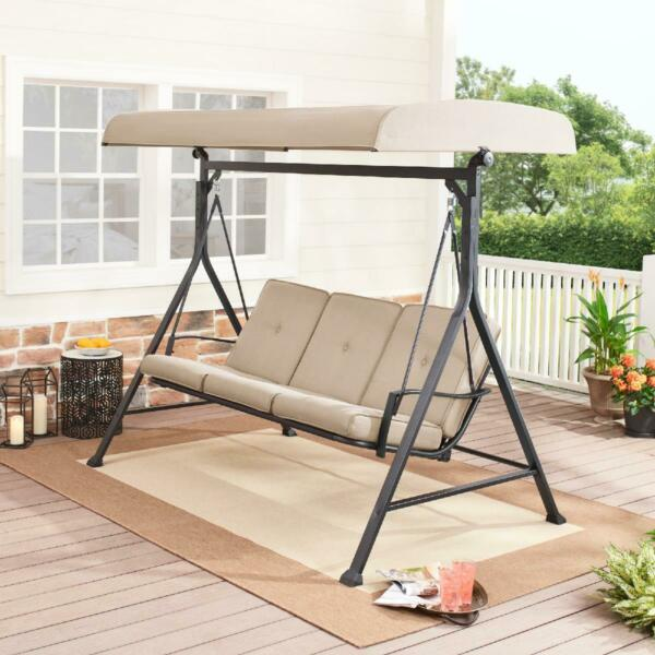 Porch Swing with Canopy Adjustable Durable for 3 Person Patio Outdoor NEW $254.99