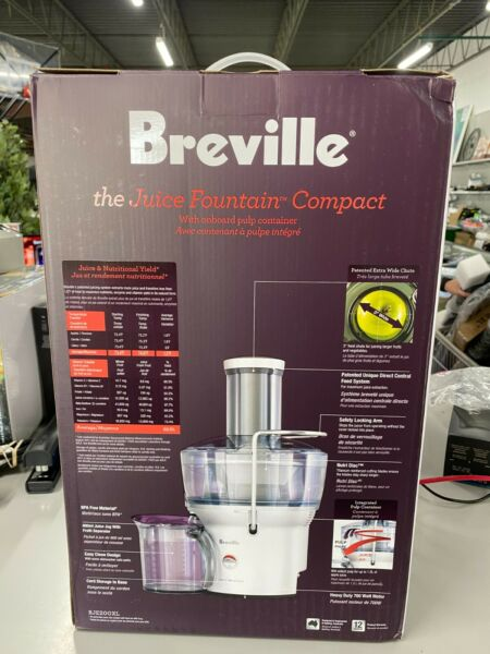 Breville BJE200XL Juice Fountain Compact Centrifugal Juicer Silver