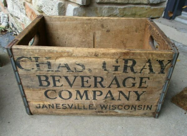 Vintage Wooden Beer Crate Charles Gray Beverage Company Janesville Wisconsin