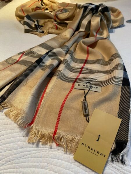 """BURBERRY SCARF LARGE BEIGE NEW 82"""" X 28"""" $95.00"""