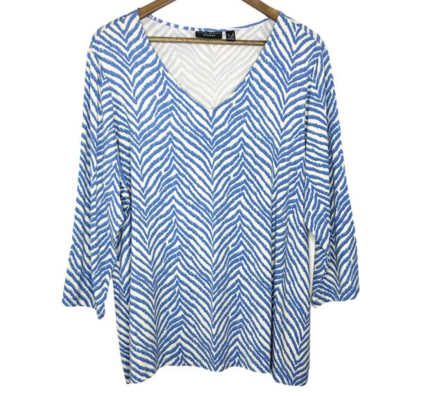 Susan Graver Weekend Women#x27;s XL Printed Cool Touch 3 4 Sleeve Top Blue New NWOT $29.99