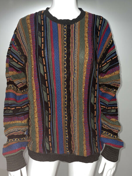 TOSANI Pullover Sweater Cosby Coogi Style Multi Color Cotton M $49.99