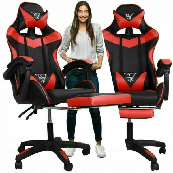 Racing Gaming Computer Office Chair Adjustable Swivel Recliner Leather