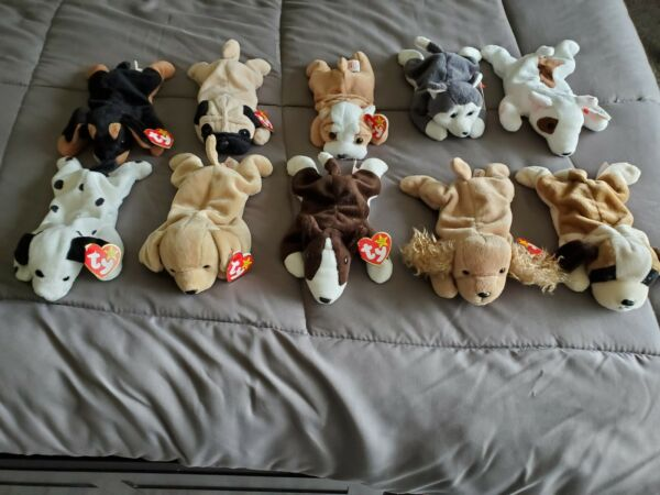 Ty Beanie Babies Dog Lot of 10 with Tags. 1996 1998 $16.00