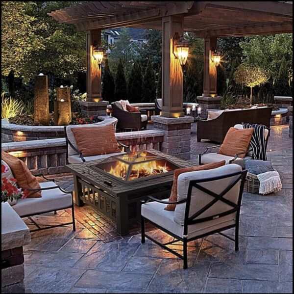 32quot; Outdoor Garden Fire Patio Square Fireplace Heater Stainless Steel Table $105.00
