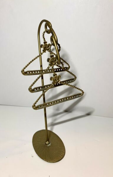 Vintage Doll Clothes Hangers x3 amp; Rack. Metal Brass Colored . Heavy Ornate. $12.99