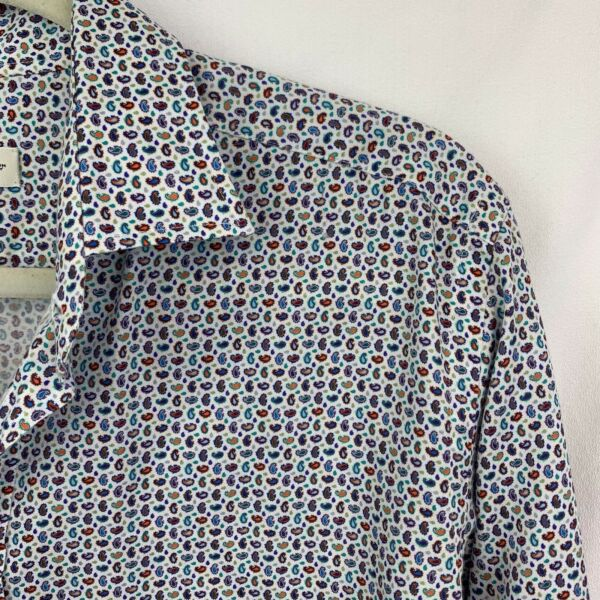 ETRO Cotton White Multicolor Pattern Long Sleeve Casual Shirt Sz 41 $27.99