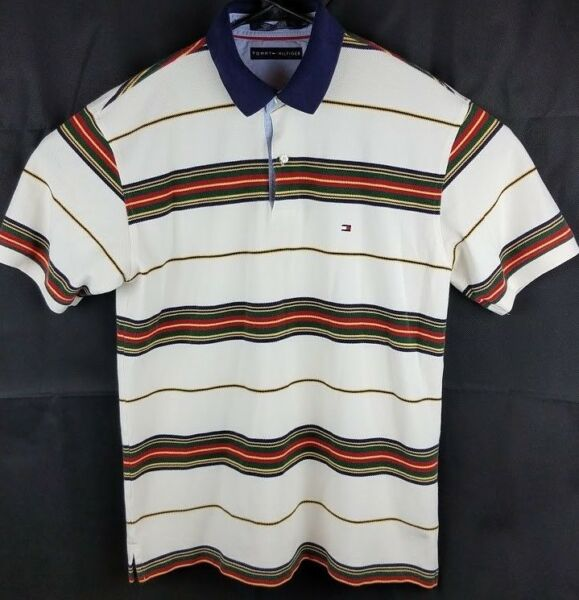 Tommy Hilfiger Mens Size L Shirt Polo Striped Collared Short Sleeve $19.85