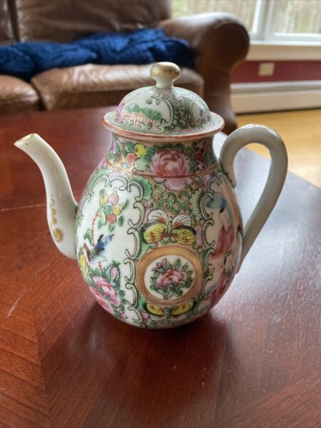 Chinese porcelain rose medallion tea pot with dome cover $250.00