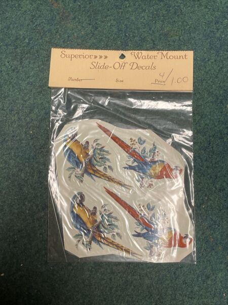 Water Mount Slide Off Decals Parrots Maryland China Company $3.00