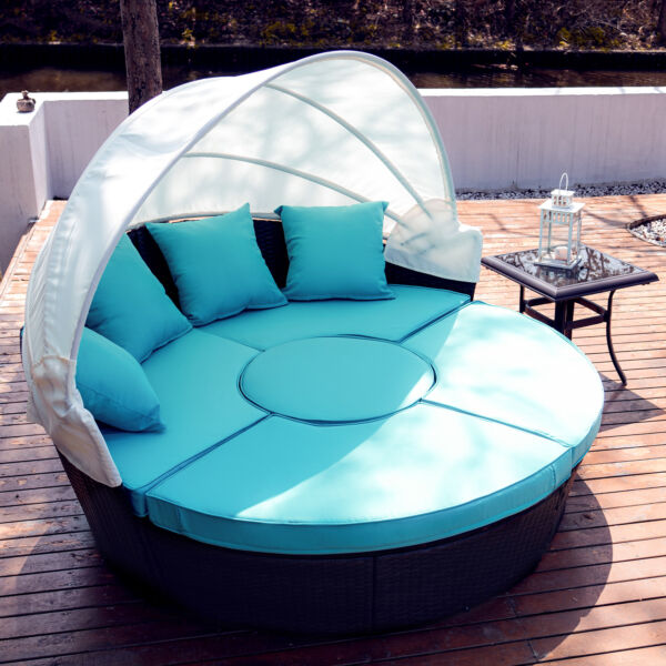5pc Outdoor Furniture Set Wicker Daybed Round Table 4 Chairs Pillows Cover $554.69