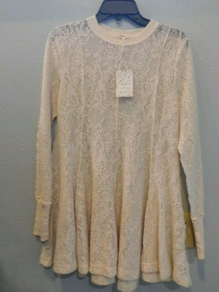 NWT Free People Coffee in the Morning Lace Tunic Pullover Ivory XS RETAIL $128