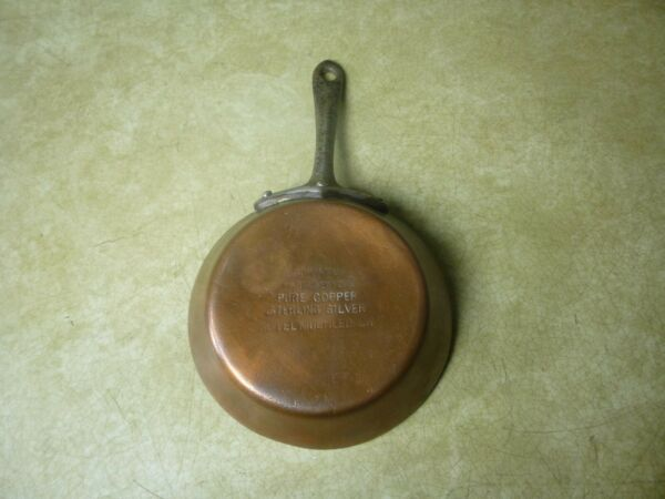 Small Antique 5quot; Jos Heinrichs Silver Plated Copper Skillet Hotel Muehlebach