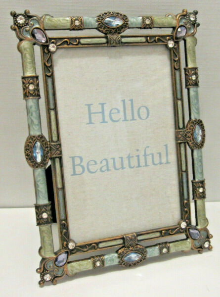 4X6quot; Antique Vintage Style Blue Brass Crystals Enamel Jeweled Picture Frame