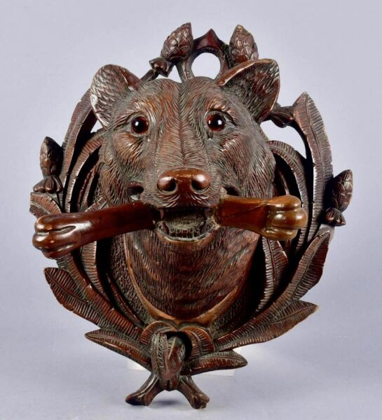 Black Forest Dog Wolf Wall Plaque Coat hook