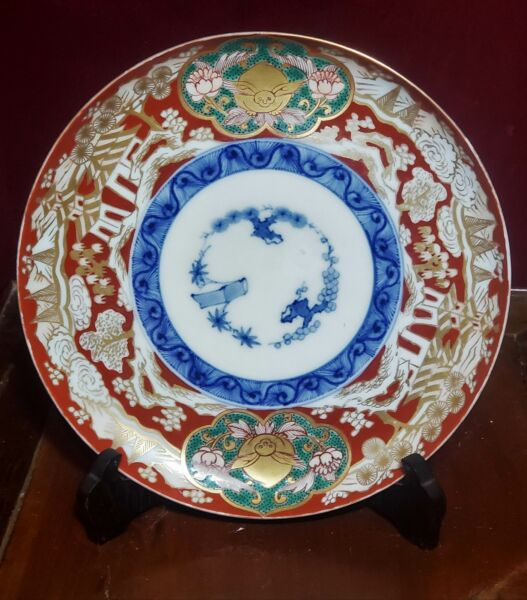 Antique Japanese Meiji Arita Imari Plate Three Friends of Winter circa 1880s
