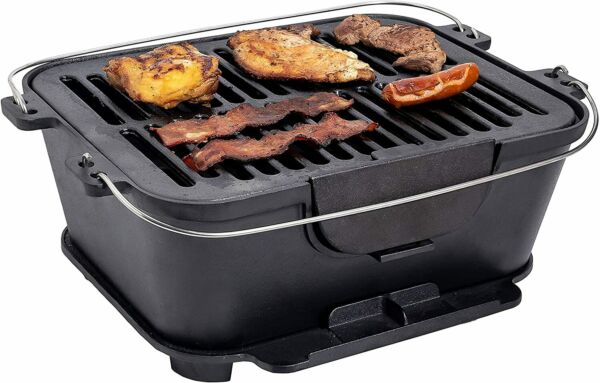 Bruntmor Pre Seasoned Hibachi Portable Cast Iron Charcoal Rectangle BBQ Grill