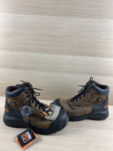Timberland PRO TITAN XL Brown Leather Safety Toe Lace Up Work Boots Men's 10 W $99.99