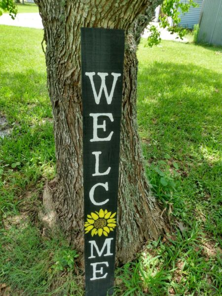 Large Wood Door Sign WELCOME Porch Vertical Weathered Farmhouse 48quot; Tall 4 FT