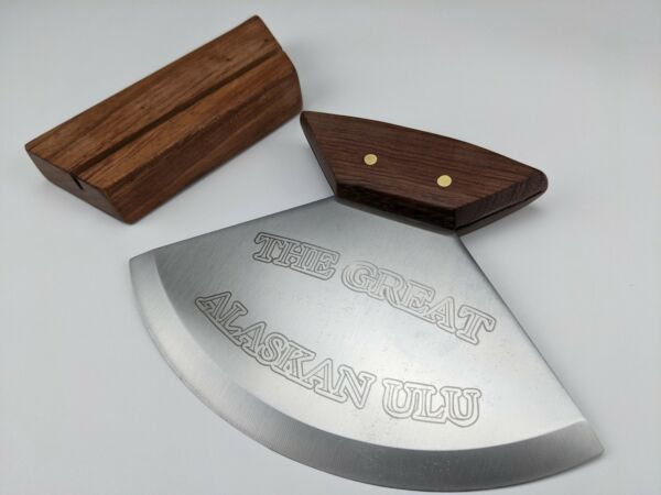 The Great Alaskan Ulu Knife Includes Wood Stand Stainless Blade Gift Boxed
