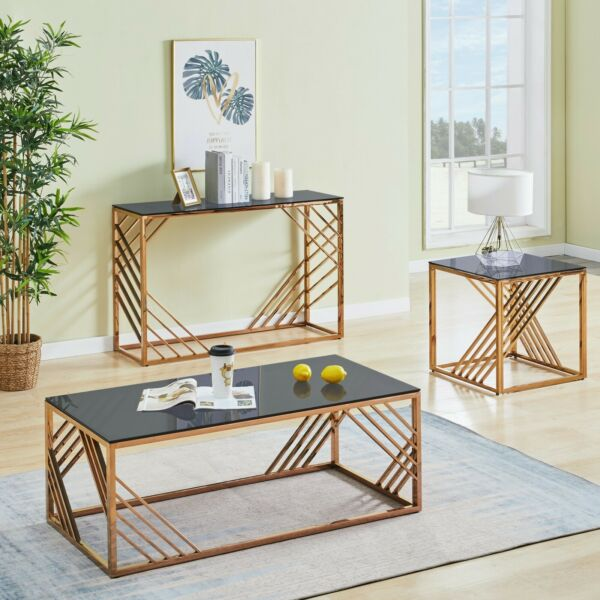 Coffee Console End Table Rose Gold Tempered Glass Furniture for Living Room Home $119.99
