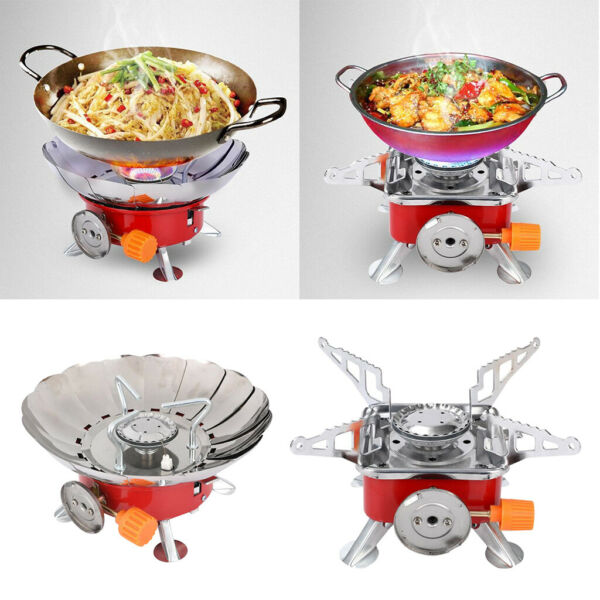 Mini Camping Gas Stove Windproof Foldable Butane Burner 2.8KW Picnic Stove