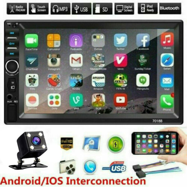 7quot; Double 2 DIN Car MP5 Player Bluetooth Touch Screen Stereo Radio w Camera $55.99