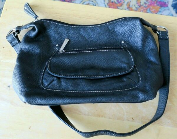 Stone Mountain black leather shoulder bag purse great condition $14.95